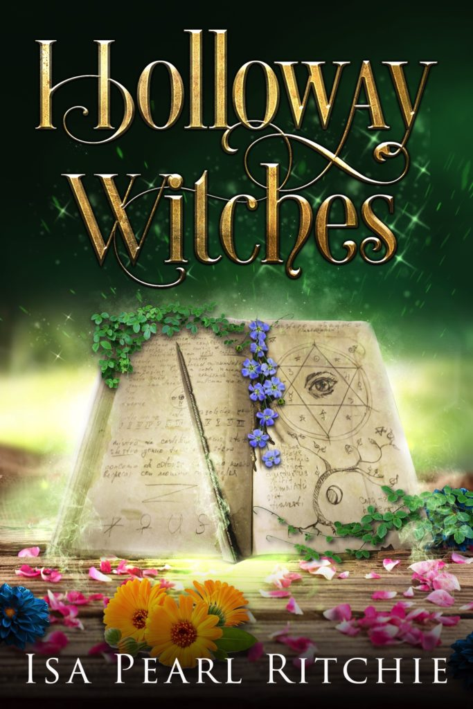 Cover of Holloway Witches, a book of spells open to a pentagram image with wand surrounded by flower petals