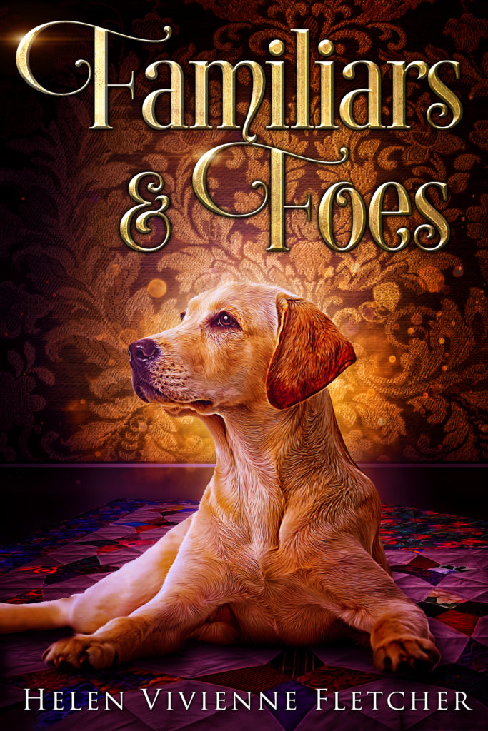 Cover of Familiars and Foes - a golden labrador on a muted quilt