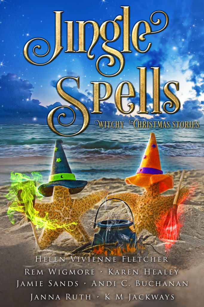 Cover of Jingle Spells - Two Starfish in a green and red witch's hat around a cauldron on the beach
