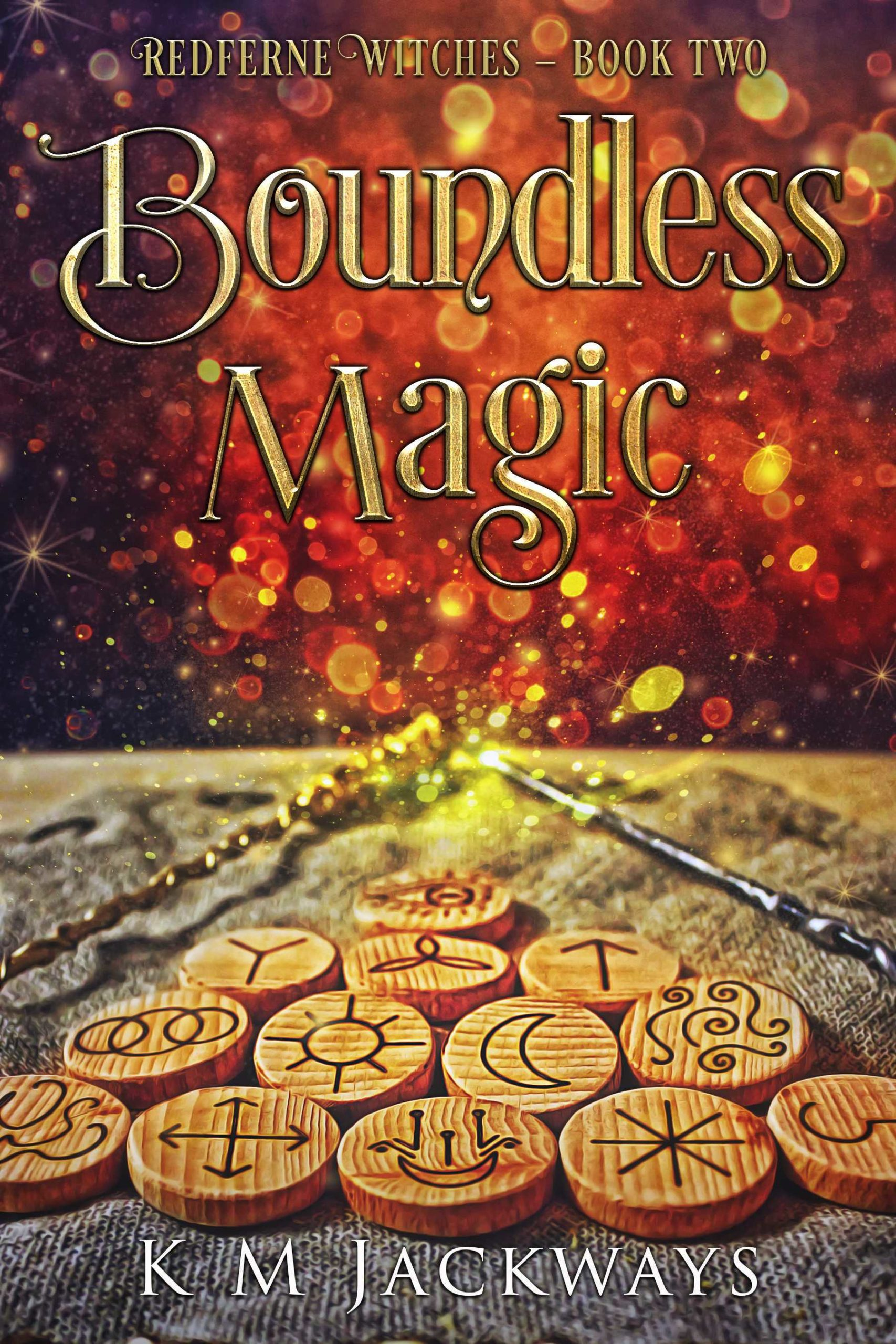 Cover of Boundless Magic - Rune Tokens placed in a triangle with two magic wands casting red magic into the background