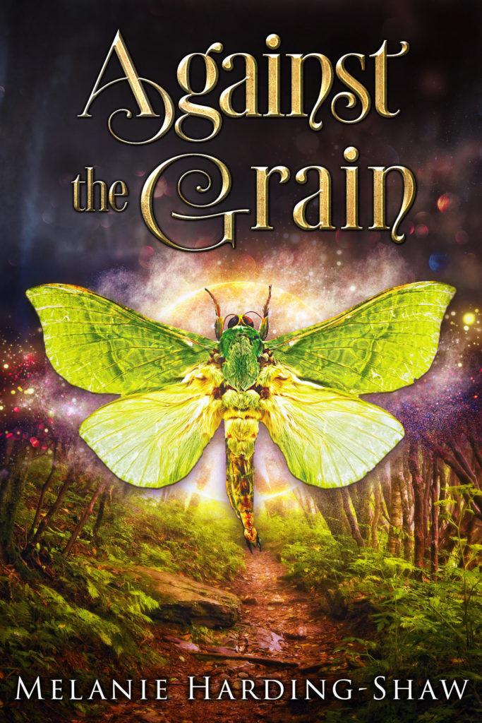 The Cover of Against the Grain - A Puriri moth against a moon illuminating a mountain bike pathway